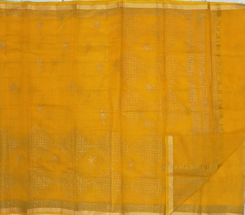 kota muggu print yellow saree - lydiaspurple