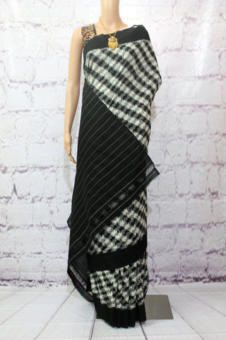 PCBWSZ01- Pochampally ikat cotton saree black & white double zigzag pattern - Lydiaspurple