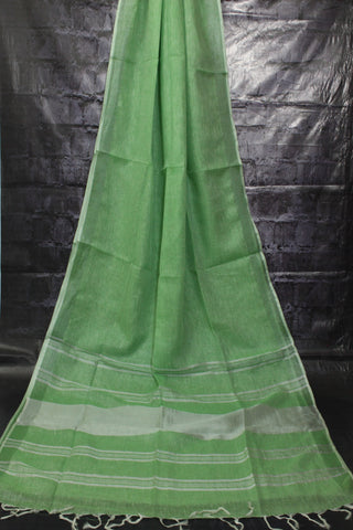 DLSG01-green handloom silver zari linen saree with blouse