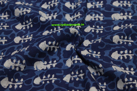 LPIFB02-Indigo malmal cotton fabric for kurti and blouse - Lydiaspurple