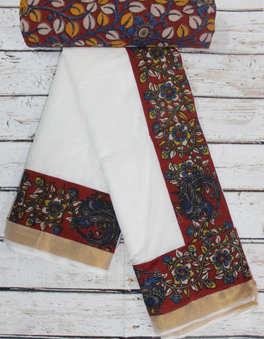 kerala cotton saree with kalamkari border
