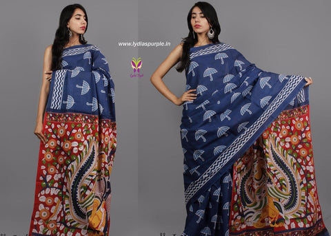 LPIUO1- baghru block printed malmal cotton saree with kalamkari pallu - Lydiaspurple