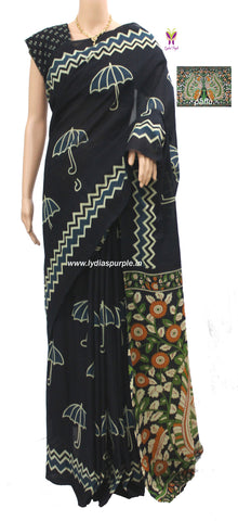 IUKP02- baghru block printed malmal cotton saree with kalamkari pallu - LydiasPurple
