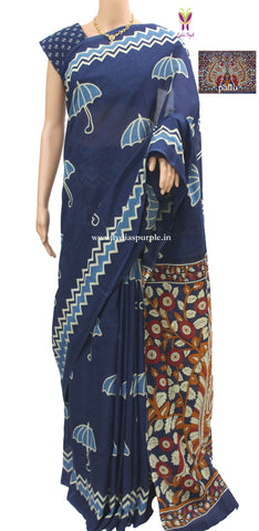 IUKP- baghru block printed malmal cotton saree with kalamkari pallu - LydiasPurple