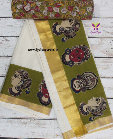 KCGFB01-Kalamkari patch work on kerala cotton saree with kalamkari border and kalamkari blouse - Lydiaspurple