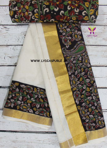 KCKBB01-Kalamkari patch work on kerala cotton saree with kalamkari border and kalamkari blouse - Lydiaspurple