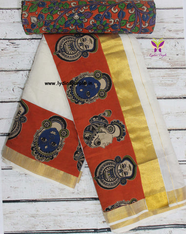 KCOFB01-Kalamkari patch work on kerala cotton saree with kalamkari border and kalamkari blouse - Lydiaspurple