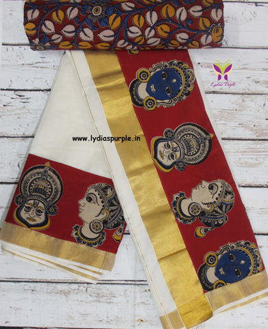 KCRFB01-Kalamkari patch work on kerala cotton saree with kalamkari border and kalamkari blouse - Lydiaspurple