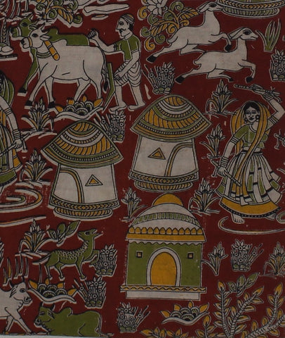 KFAB23-Multi colour Kalamkari fabric