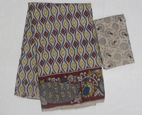 KKTCS03- multi colour floral printed kota kalamkari cotton saree