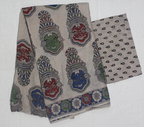 KKTCS04- multi colour kathak face printed kota kalamkari cotton saree