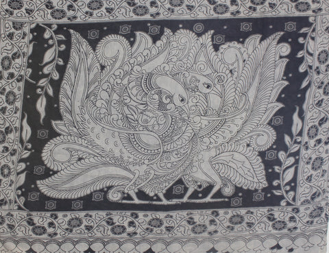 KMCS01- vegetable dye black and white kalamkari cotton saree with blouse and peacock pallu