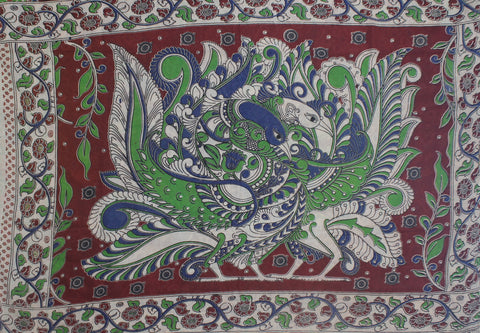 KMCS02- vegetable dye Maroon red  kalamkari cotton saree with blouse and peacock pallu