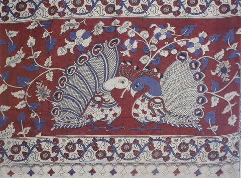 KMCS03- vegetable dye beige  kalamkari cotton saree with blouse and peacock pallu