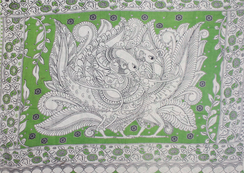 KMCS04- vegetable dye parrot green kalamkari cotton saree with blouse and peacock pallu