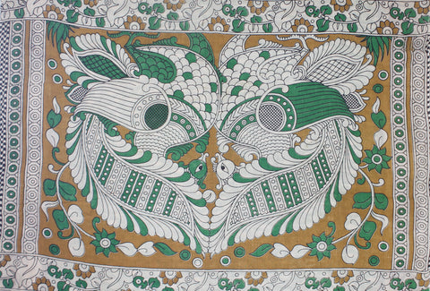 KMCS05- vegetable dye green  kalamkari cotton saree with blouse and peacock pallu