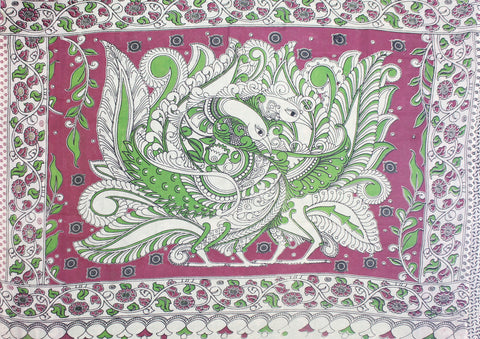 KMCS07- vegetable dye parrot green  kalamkari cotton saree with blouse and peacock pallu