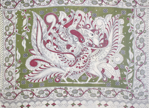 KMCS08- vegetable dye off white kalamkari cotton saree with blouse and peacock pallu