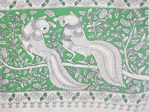 KMCS11- vegetable dye  parrot green kalamkari cotton saree with blouse and peacock pallu