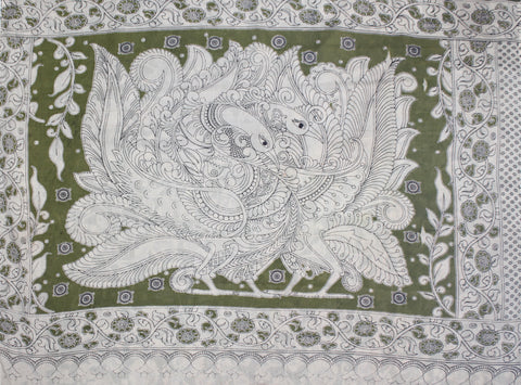 KMCS13- vegetable dye  mehendi green kalamkari cotton saree with blouse and peacock pallu