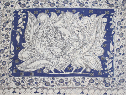 KMCS14- vegetable dye blue  kalamkari cotton saree with blouse and peacock pallu