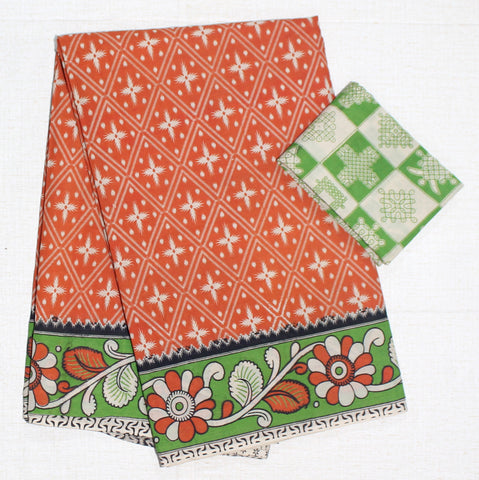 KMCS15- vegetable dye orange kalamkari cotton saree with blouse and peacock pallu