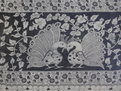 KMCS19- vegetable dyekalamkari cotton saree with blouse and peacock pallu
