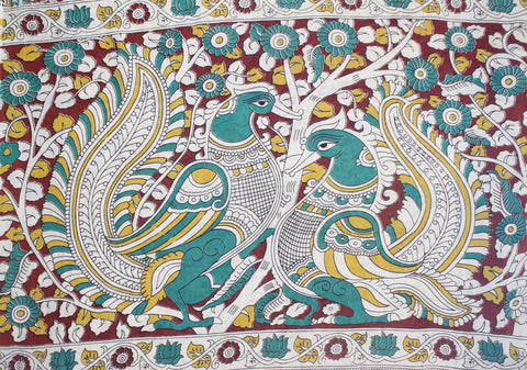 KMCS20- vegetable dye multi colour kalamkari cotton saree with blouse and peacock pallu