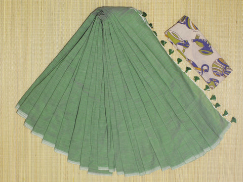 KPGKB-handloom pista green colour khadi cotton saree with running blouse and ikkat blouse