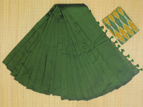 KPOGKB-handloom bottle green colour khadi cotton saree with running blouse and ikkat blouse