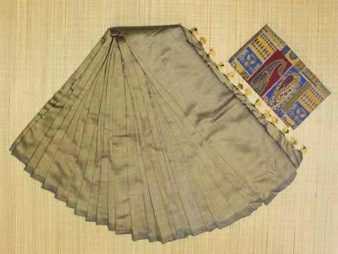 KPSTGKB-handloom stone grey khadi cotton saree with running blouse and ikkat blouse