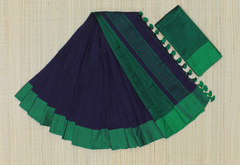 KPBGS01-handloom khadi blue and green saree with running blouse