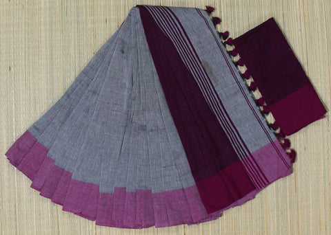 KPGPS01-handloom khadi cotton grey and pink  saree with running blouse