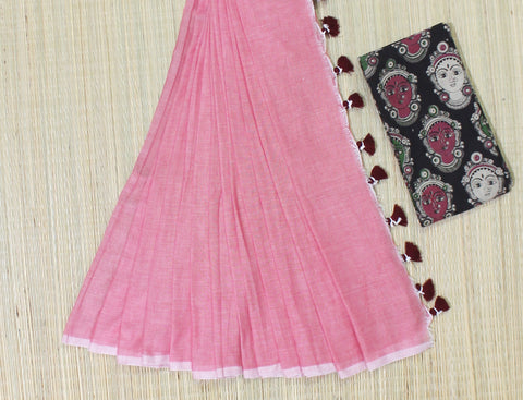 KPKPBS01-handloom peach khadi cotton saree with running blouse and kalamkari blouse