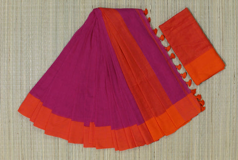 KPPOS02-handloom khadi cotton pink  saree with running blouse
