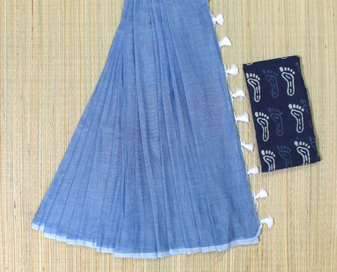 KPWBIB02-handloom water blue khadi cotton saree with running blouse and indigo blouse