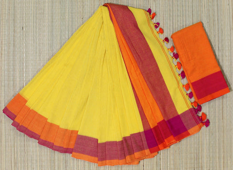 KPYOPS02-handloom khadi cotton yellow orange and pink  saree with running blouse
