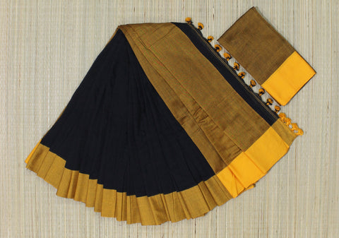 KPBLS02-handloom khadi cotton black  saree with running blouse