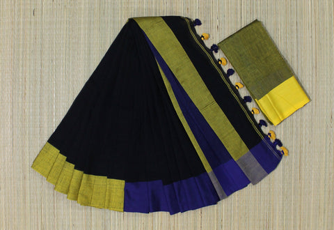 KPBBS01-handloom khadi cotton black and purple saree with running blouse