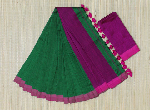 KPGPS02-handloom khadi cotton green and pink  saree with running blouse