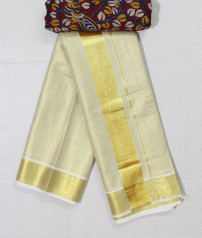 KTGZKB01- Kerala golden tisssue saree with  kalamkari blouse