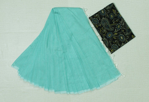 KPTBKB02-handloom turquiose blue colour khadi cotton saree with running blouse and  kalamkari blouse
