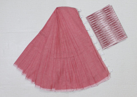 KPPPIB02-handloom  pinkish peach colour khadi cotton saree with running blouse and ikkat  blouse