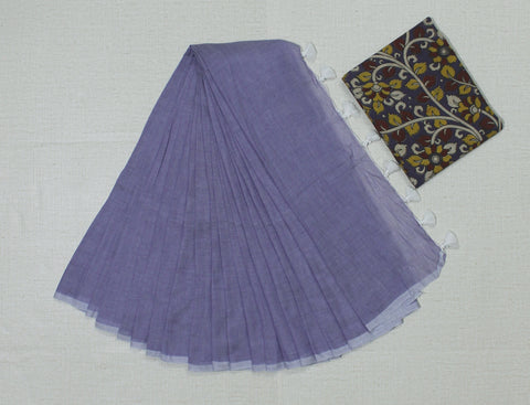 KPLKB02-handloom lavender colour khadi cotton saree with running blouse and kalamkari blouse