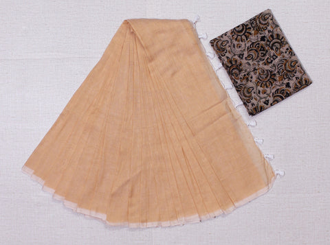 KPBKB02-handloom biscuit colour khadi cotton saree with running blouse and block print kalamkari blouse