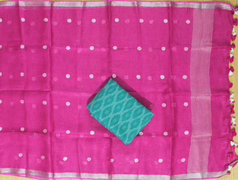 HLID01- Handloom Ikkat cotton top with Linen Dupatta
