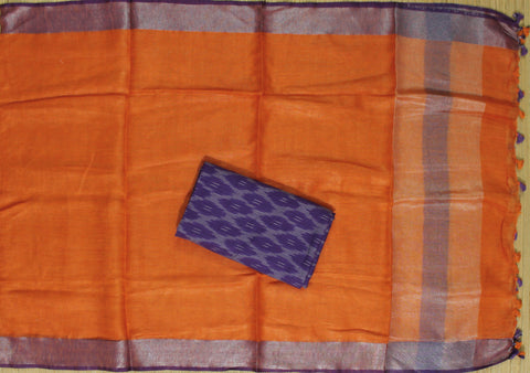 HLID05- Handloom Ikkat cotton top with Linen Dupatta