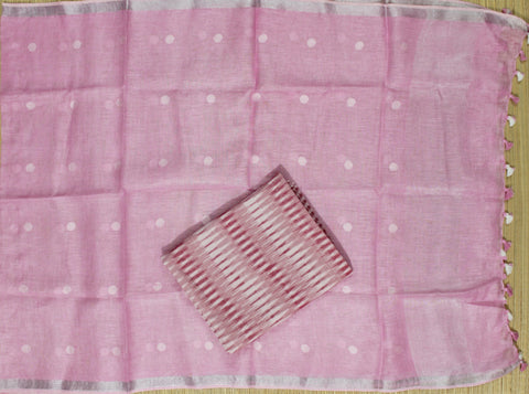 HLID06- Handloom Ikkat cotton top with Linen Dupatta
