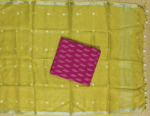 HLID07- Handloom Ikkat cotton top with Linen Dupatta