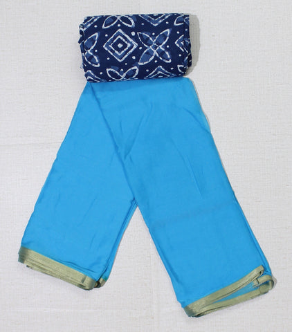 LPSBIKB- sky blue chiffon saree with designer indigo blouse